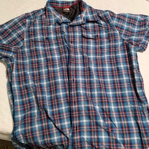 Blue and red plaid north face shirt